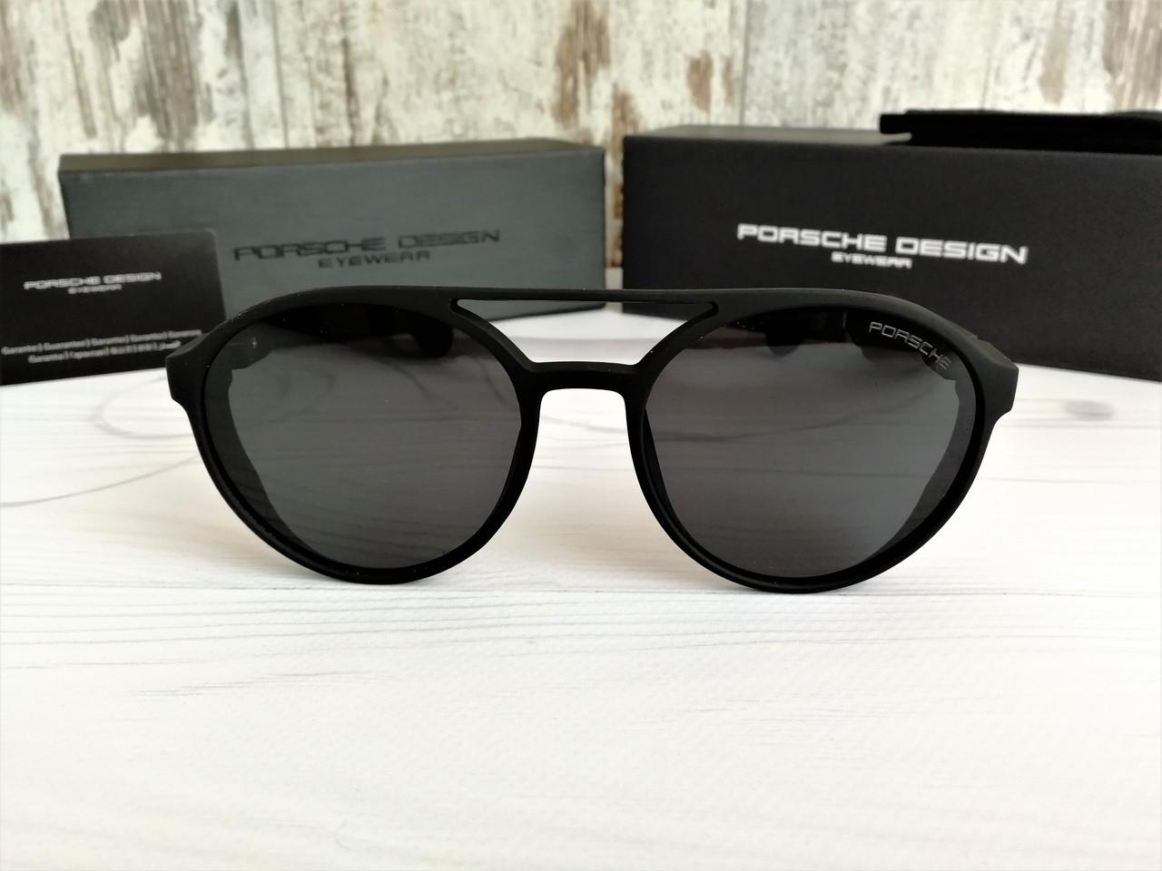 Стильные брендовые солнцезащитные очки с поляризацией Porsche (унисекс) черные