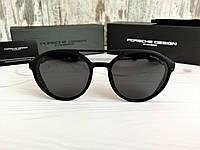 Стильные брендовые солнцезащитные очки с поляризацией Porsche (унисекс) черные, фото 1