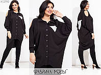 Подовжена сорочка жіночий з англійським коміром (3 кольори) ТЗ/-804 - Чорний, фото 1