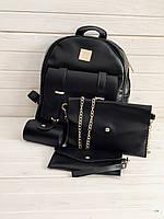 Рюкзак женский + клатч, кошелёк и визитница набор 4 в1  экокожа, черный, опт, фото 1