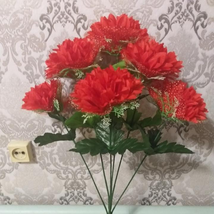 """Искусственные цветы """"хризонтема с фатином"""""""