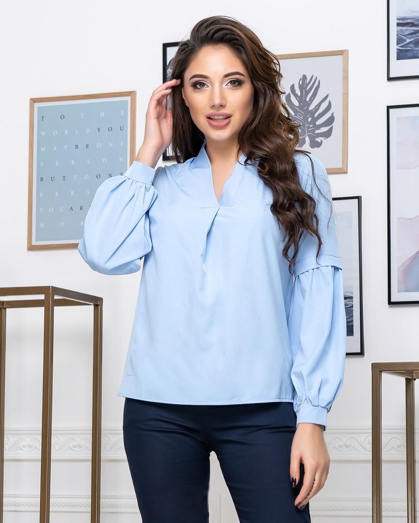Женская однотонная блузка длинный рукав