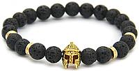 Мужской браслет Шлем рыцаря из камня вулканического происхождения Черный (R0045)