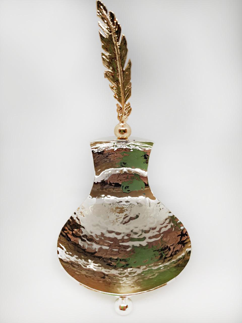 Міні цукерниця MCA Vizyon з мельхіору з посріблені і позолотою + інкрустація пером