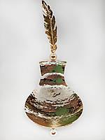 Міні цукерниця MCA Vizyon з мельхіору з посріблені і позолотою + інкрустація пером, фото 1