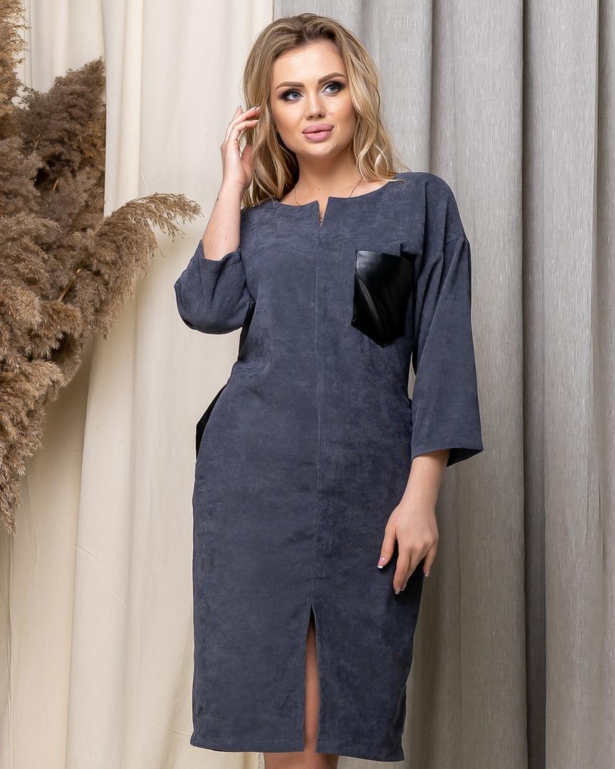 Стильное платье вельвет вставки кожа большие размеры