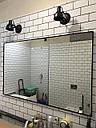 Черное зеркало в алюминиевой раме для ванной, фото 2
