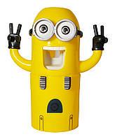 Набор Миньон Держатель зубных щёток + дозатор для зубной пасты Желтый (RI0259)