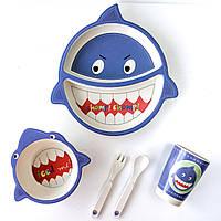 Набор бамбуковой детской посуды 5 шт АКУЛА овальная Белый с голубым (RI0261)