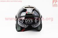 Шлем мото скутер мопед (IBK) Шлем открытый + откидные очки 605 - ЧЕРНЫЙ- размер М