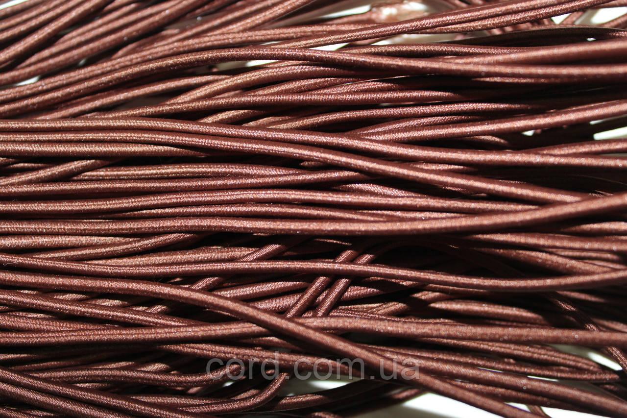 Резинка шляпная, круглая 2,5мм 50м коричневый