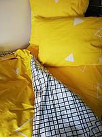 КОМПЛЕКТ ПОСТЕЛЬНОГО БЕЛЬЯ. Ткань САТИН. размер - ЕВРО МАКСИ. Цвет белый в клетку + желтый