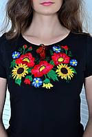Стильная украинская футболка вышиванка с маками и подсолнухами