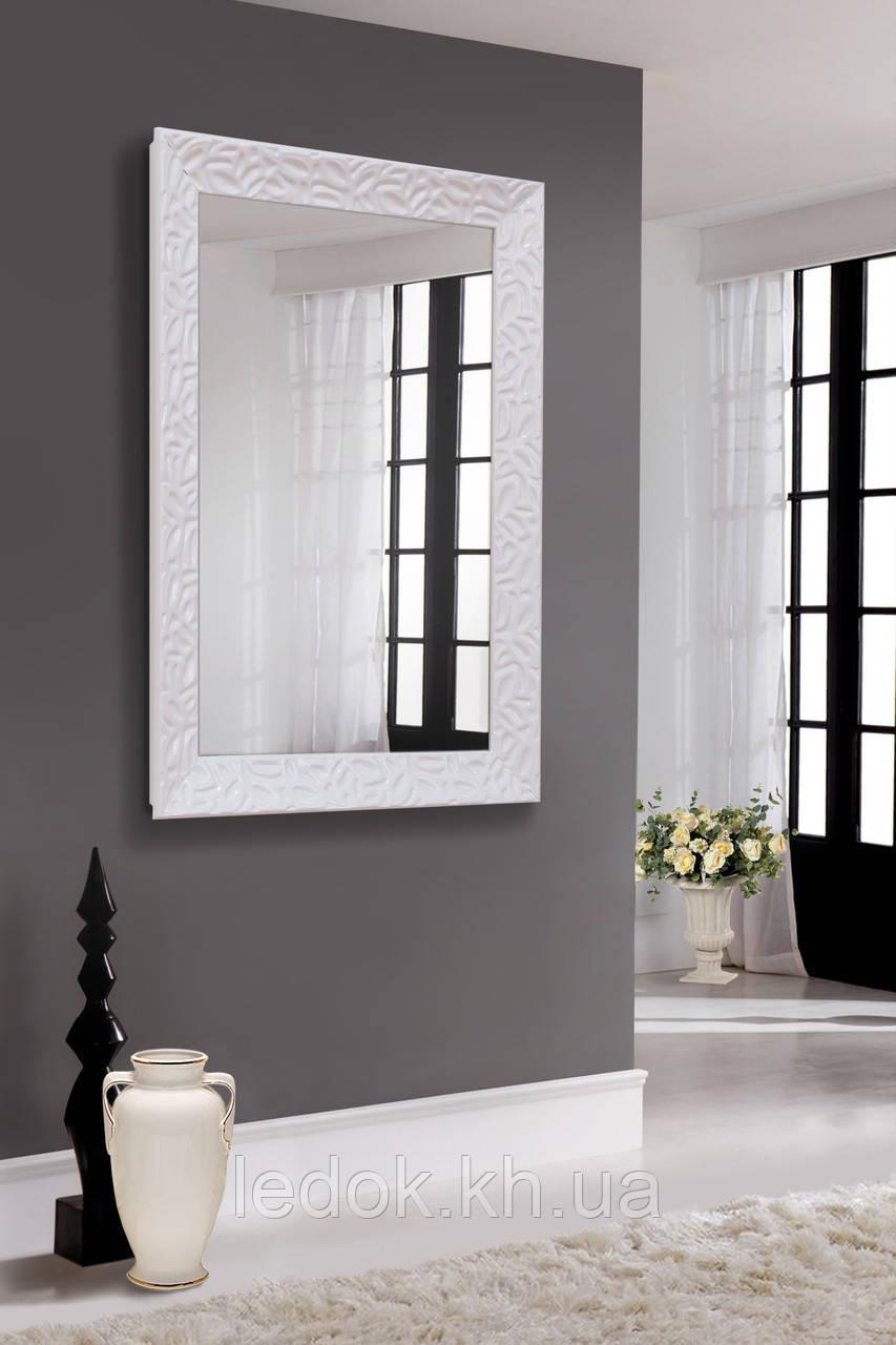 Зеркало в блестящей белой раме 500х800