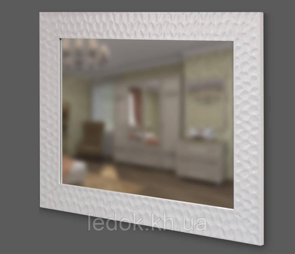 Дзеркало в білій багетній рамі 90мм 700х500
