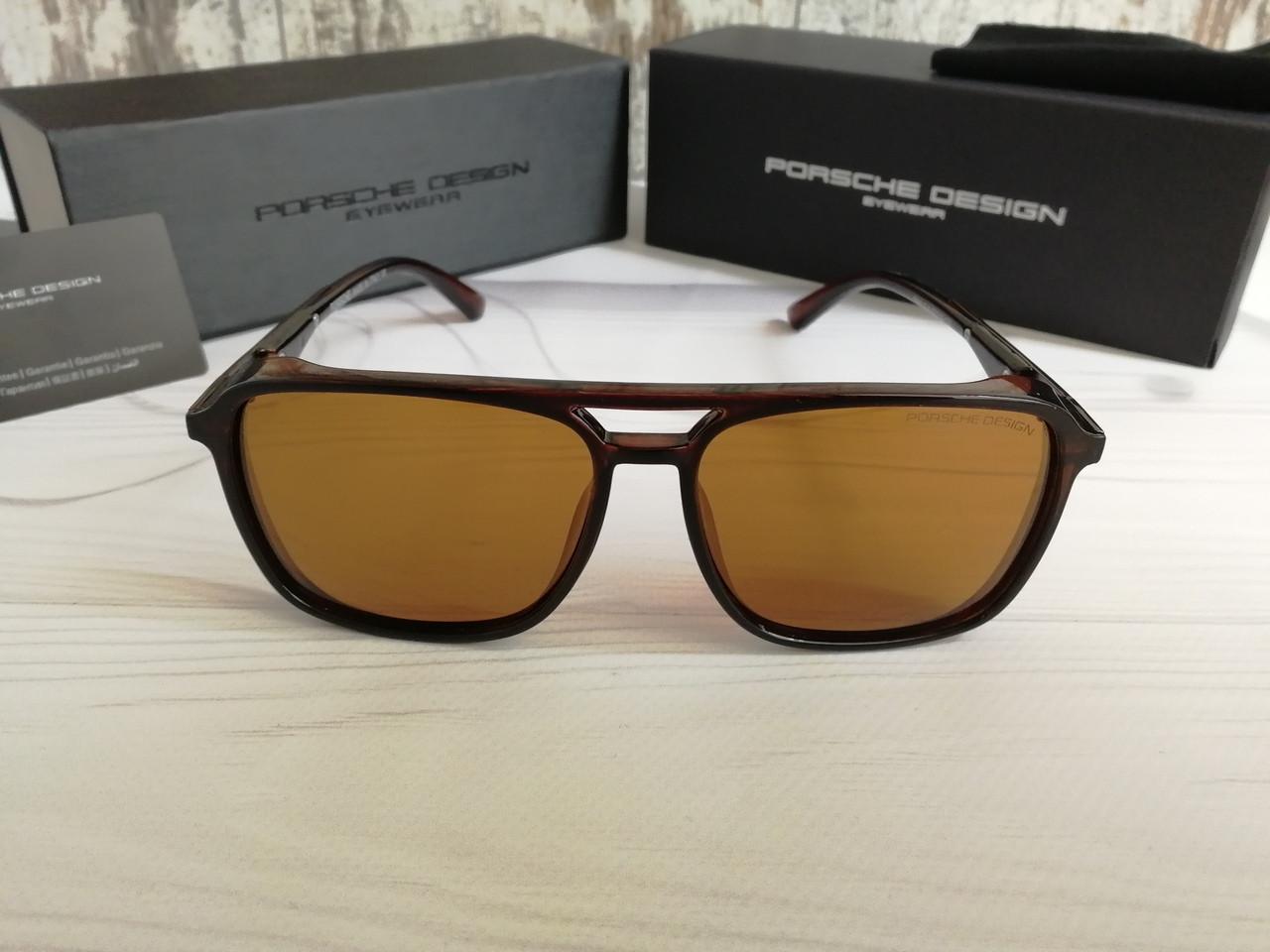 Мужские брендовые солнцезащитные очки с поляризацией Porsche Design (коричневые)