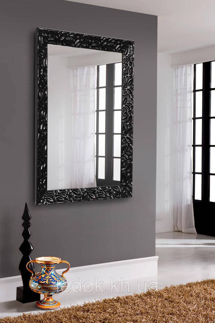 Зеркало в черной раме, глянец 1200х600