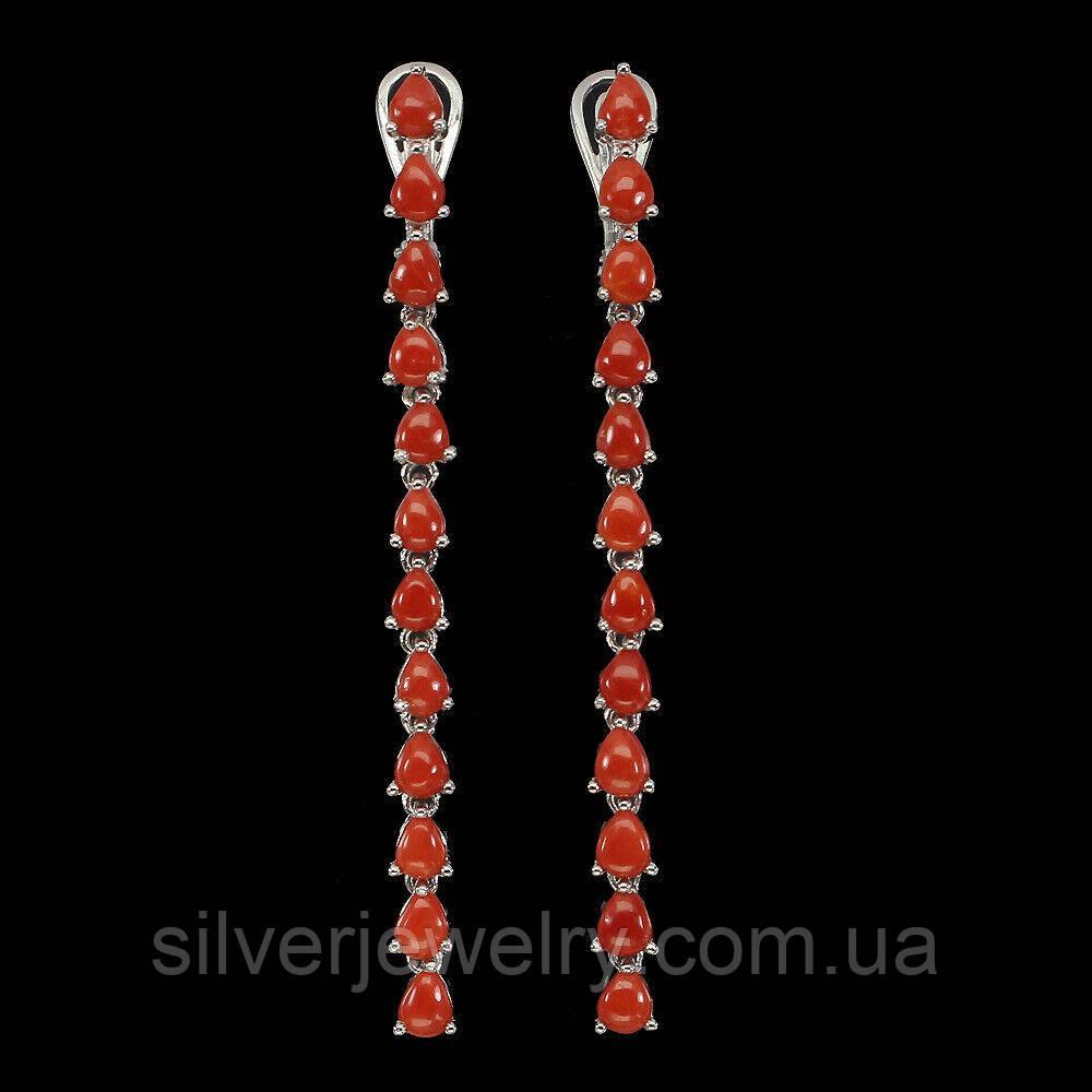 Серебряные серьги с КОРАЛЛОМ (натуральный), серебро 925 пр.