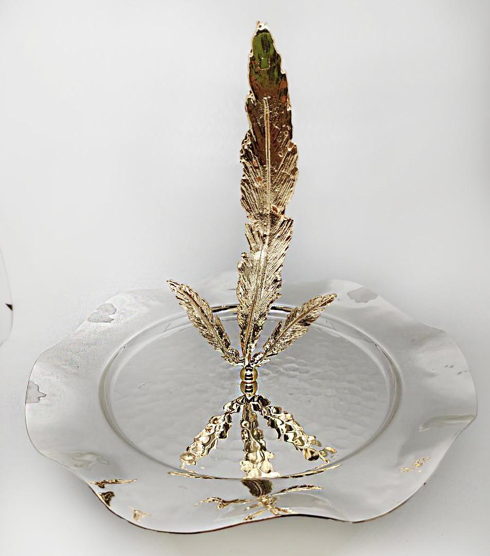 Фруктовница - конфетница MCA Vizyon из мельхиора с посеребрением и позолотой и декоративным пером