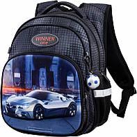 Рюкзак Winner One для мальчика с крутой серо-белой машиной на фоне ночного города три отделения + брелок