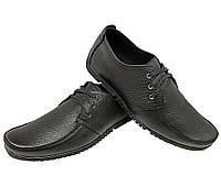 Мокасины мужские натуральная кожа черные на шнуровке (4f), фото 1