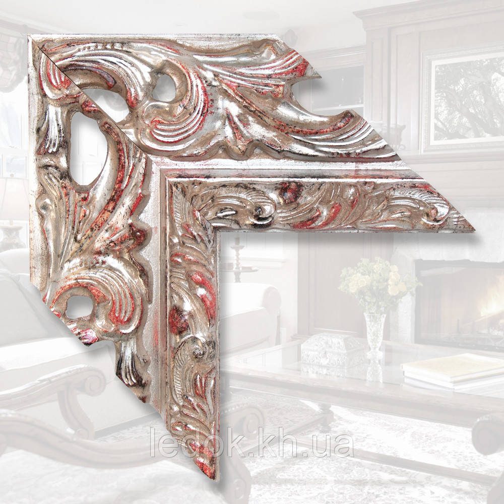 Зеркало в деревянной раме шириной 146мм 1200х600