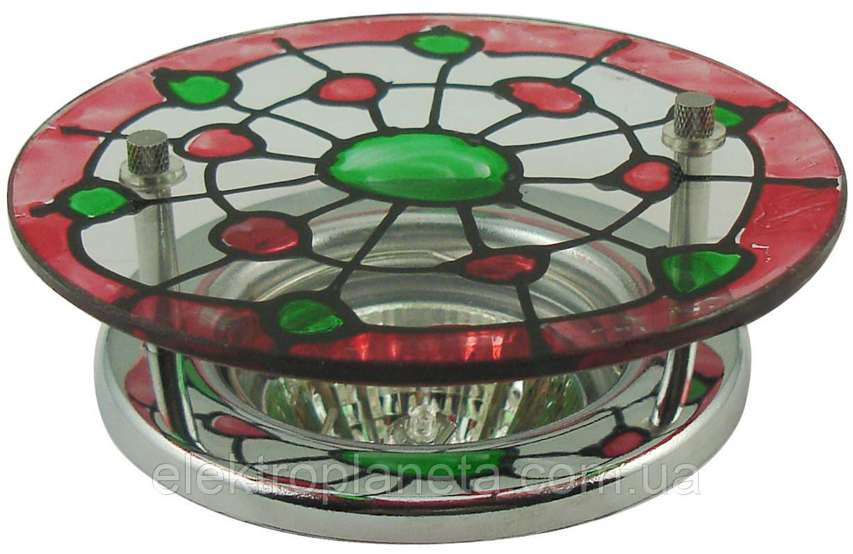 Точечный светильник MR16 S7298 CH+WH+GR+R бело-красно-зеленый (витраж)
