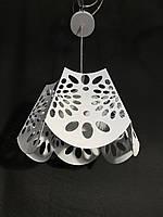 Подвесной светильник на одну лампу белым с плафоном, фото 1