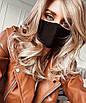 Защитная многоразовая хлопковая маска тканевая от вируса черная белая женская мужская, фото 3