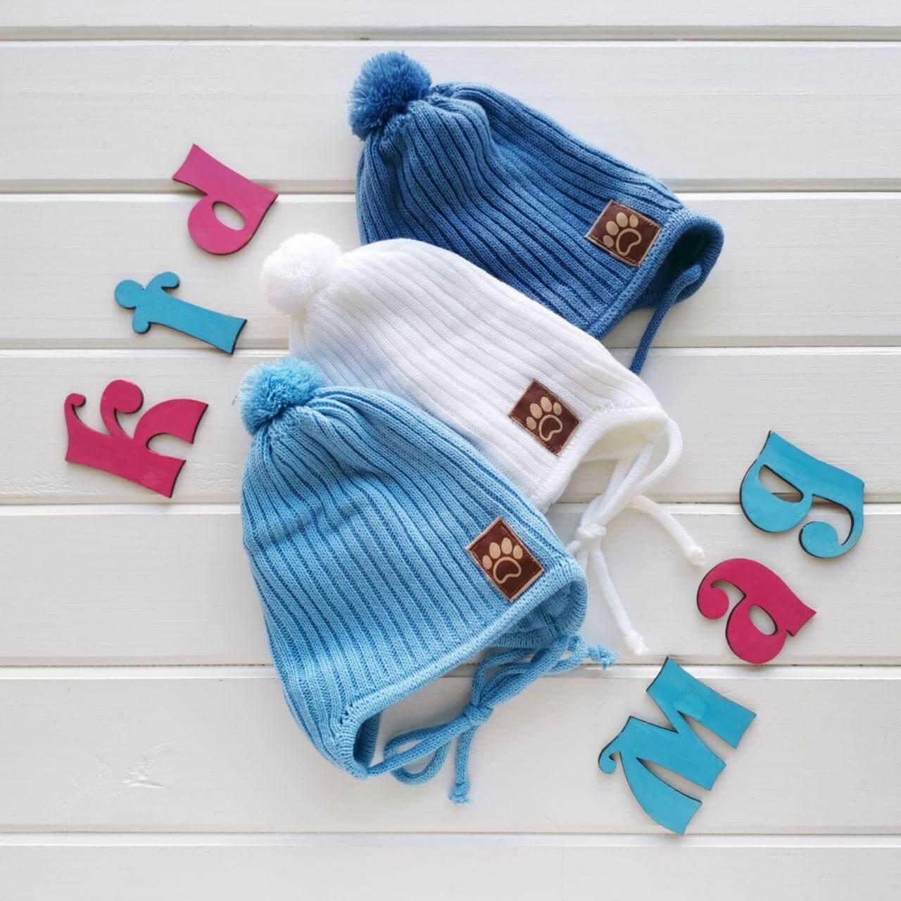 """Шапка для новорожденных мальчиков весенняя """"Топик"""" в размере 40-42 см"""