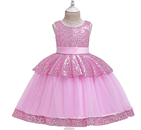 Нарядное  розовое платье с пайетками  6 летNo es un vestido rosa elegante ordinario con lentejuelas