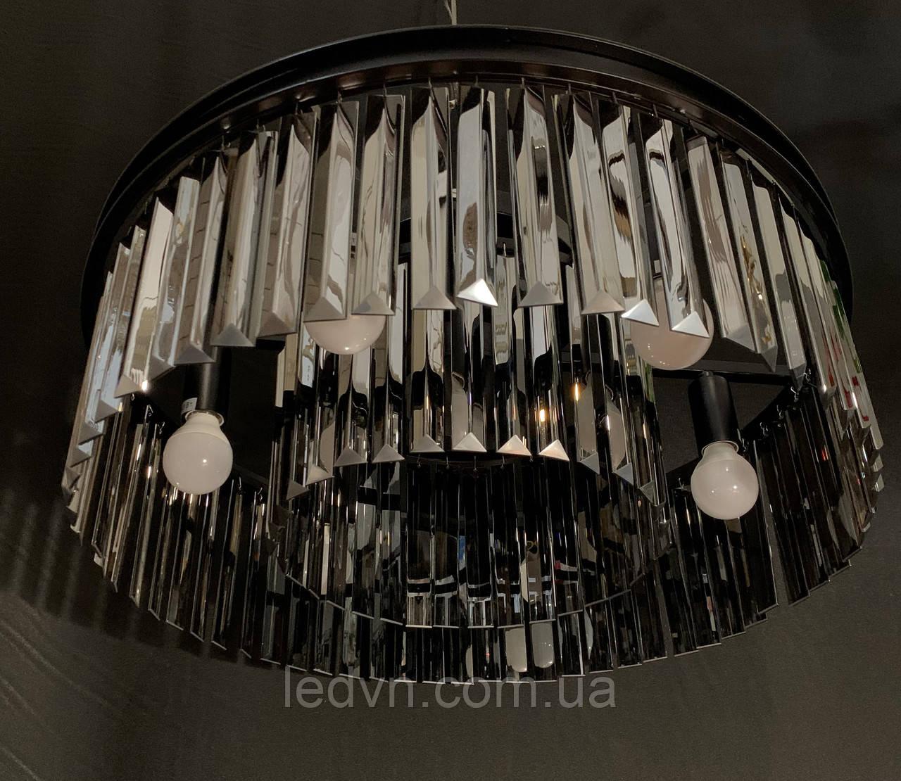 Шикарна сучасна кришталева люстра на 6 ламп чорна 55 см діаметр