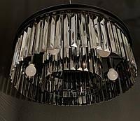 Шикарная современная хрустальная люстра на 6 ламп черная 55 см диаметр