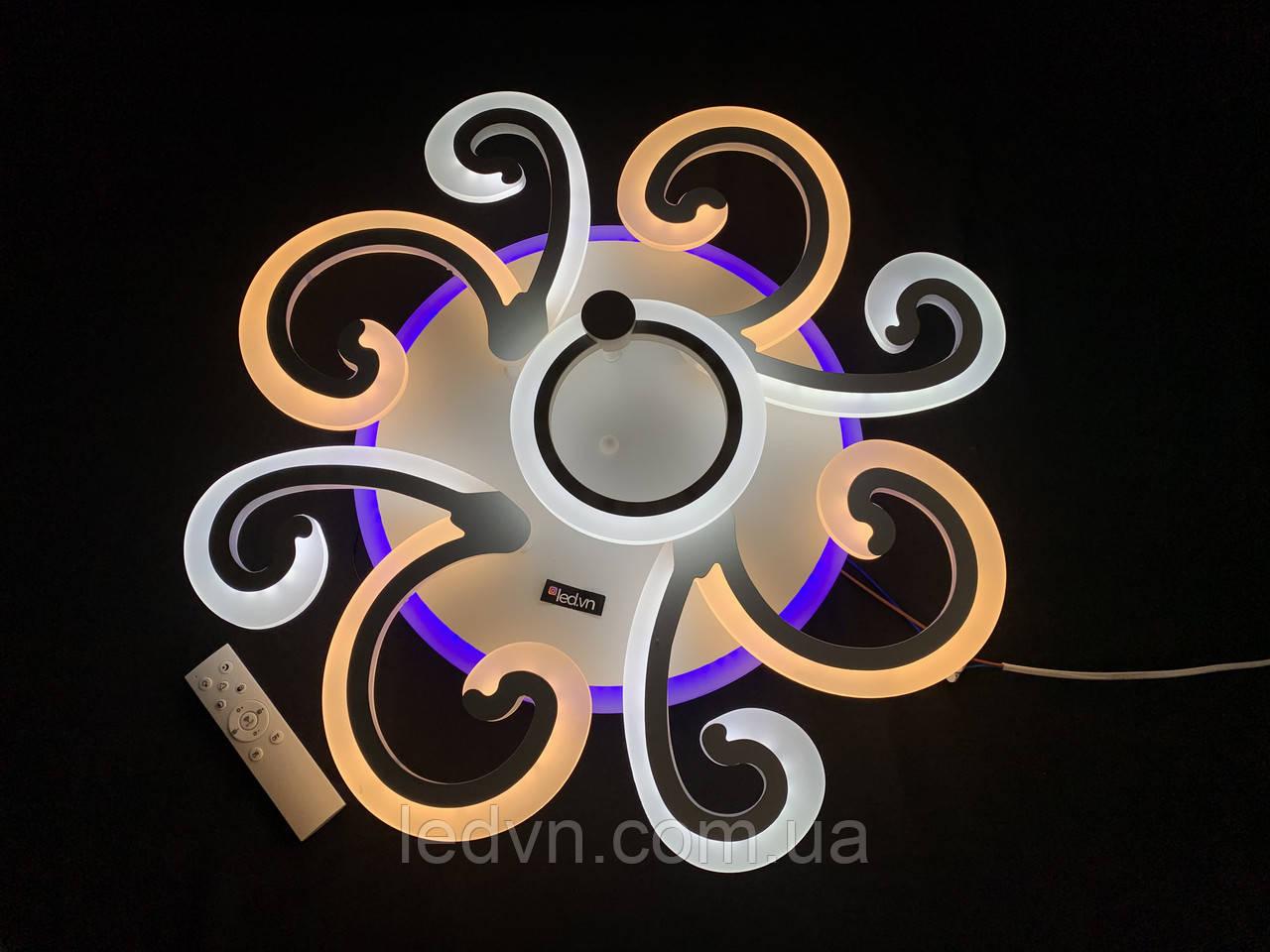 Світлодіодна люстра 4+1 з диммерним пультом біла 90 вт
