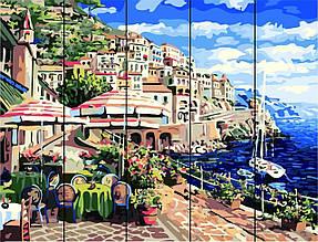 Картина по номерам по дереву Город у моря