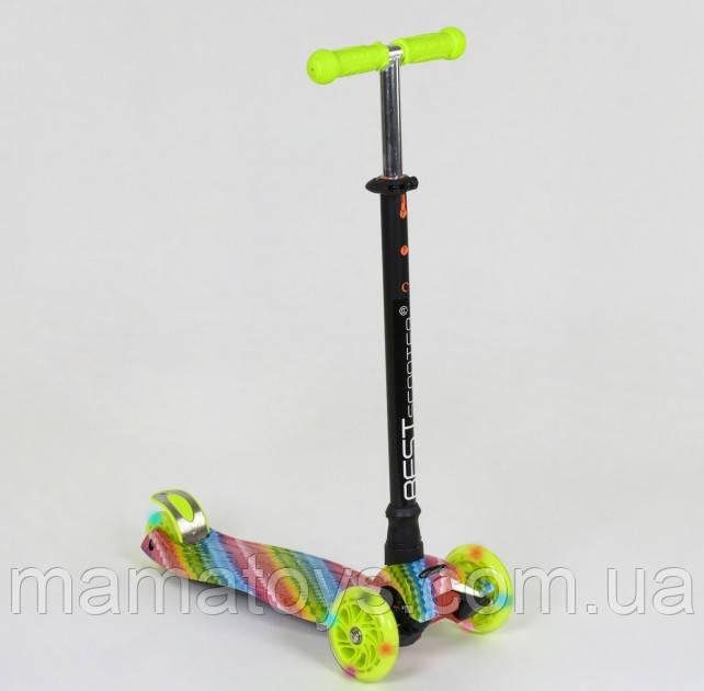 Детский Самокат Best Scooter 1335 Салатовый Макси Принт Колеса PU, светятся А 25601 /779-1335