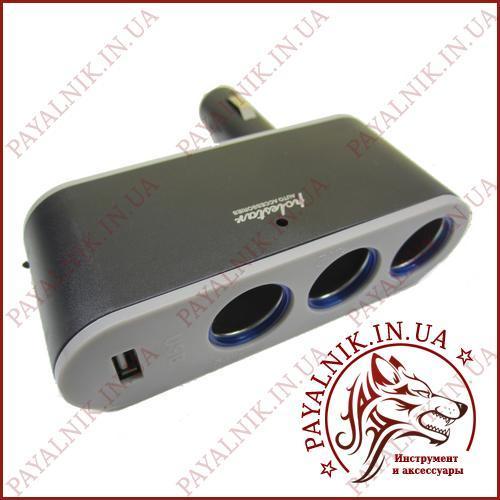 Автомобильный разветвитель прикуривателя 3 гнезда + USB WF-0100