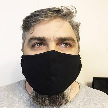 Защитная мужская маска черного цвета 23*14 см, фото 2