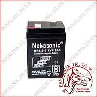 Аккумулятор свинцово-кислотный Nokasonik 6v 4.5a