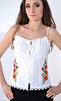 Стильный женский корсет на молнии украшен роскошной вышивкой красные маки
