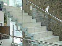 Ограждения лестничных маршей из закаленного стекла