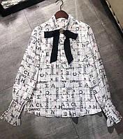 Женская  шелковая блузка с бантом, фото 1