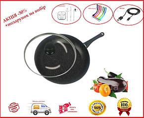 Сковорода с антипригарным мраморным покрытием с крышкой 26*5.0см BN-503, фото 2