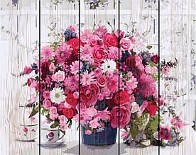 Картина по номерам по дереву Розовый букет