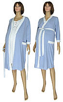 Комплект у пологовий будинок, нічна сорочка і халат 19004 Амариліс коттон Сіро-блакитний