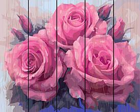 Картина по номерам по дереву Три пышные розы