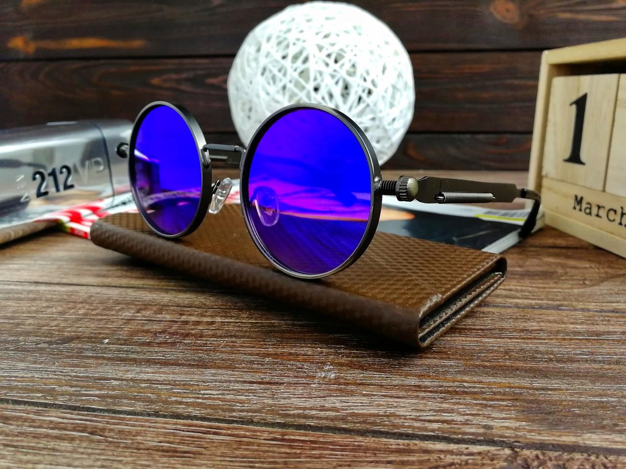 Стильные солнцезащитные очки в стиле ретро Унисекс (голубой хамелион)