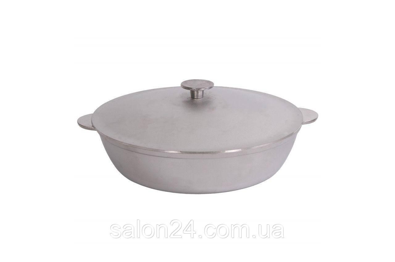 Сковорода алюминиевая Биол - 320 х 124 мм, с ровным дном и крышкой
