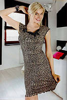 Леопардовая ночная рубашка на широких бретельках Isik 9107