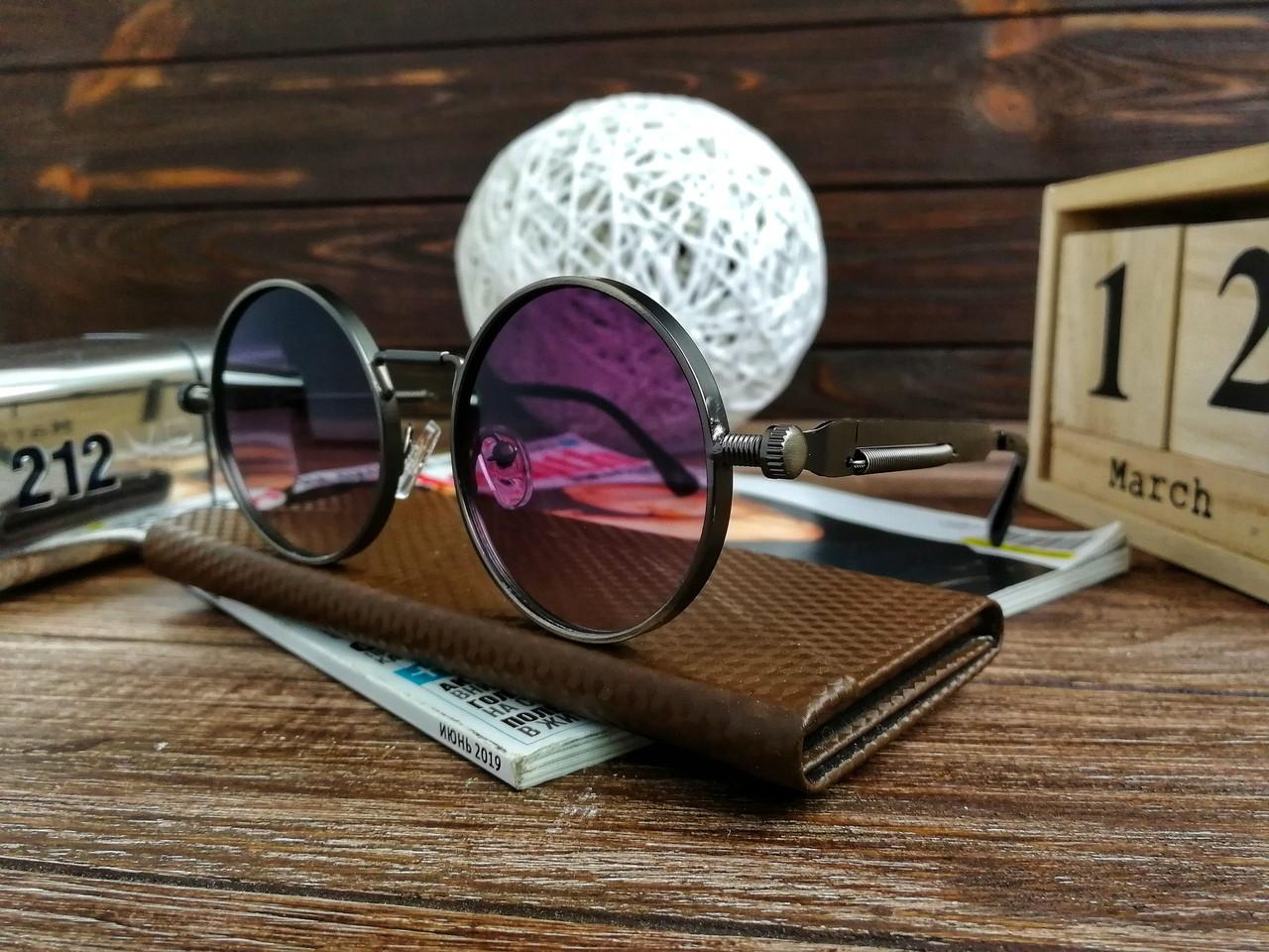 Стильные солнцезащитные очки в стиле ретро Унисекс (фиолетовый отлив)